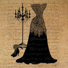 Victorian Dress with Burlap background
