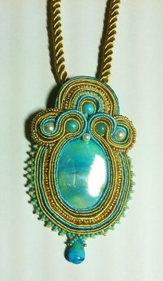 Azure South Seas Soutache Pendant with FREE Cord by FrenchMermaid, $86.00