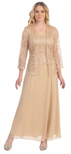 Long Chiffon Gold Mother of Groom Dress Lace Long Sleeve Jacket