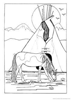 ausmalbilder indianer pferd - kostenlos zum ausdrucken