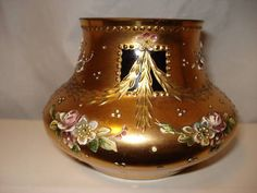 Antique Bavarian German Gold Guilded Vase Hand Painted on Ruby Glass | eBay