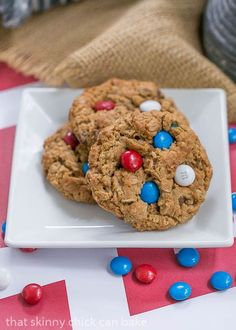 Patriotic Monster Cookies | Peanut butter oatmeal cookies chockful of M&M's and chocolate chips #SundaySupper @lizzydo