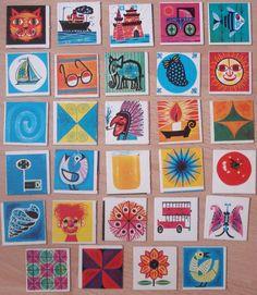 Vintage memory kaarten, 29 stuks, 5 x 5 cm, jaren '70, karton, spelonderdelen, hobbymateriaal   [A] by LabelsAndMore on Etsy