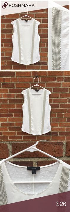J. CREW • Sleeveless Blouse J. CREW Sleeveless Blouse w/ side embellishments • Jersey back and sides w/ soft material in between embellishments • Warm White • Easy to dress up or down • In great condition • Side embellishments in tact -maybe be missing a couple but not noticeable. J. Crew Tops Blouses