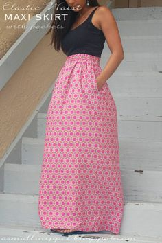 Elastic Waist Skirt with Pockets Tutorial