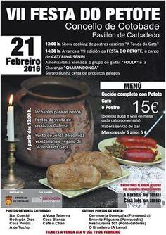 VII #FESTA DO PETOTE EN COTOBADE #Fiestagastronómica que permitirá disfrutar a todos los asistentes de la degustación de un menú a base de costilla, chorizo, lacón , chorizo cebollero, patatas, verduras, #cacheira ,  #Petote y postre. La #Fiesta que tendrá lugar el próximo domingo 21 de Febrero en el Pabellón de Carballedo, en el municipio de #Cotobade , contará además con la animación musical de una charanga y de un grupo de gaitas. #ViajesTuriplanet