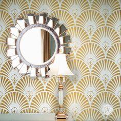 Old Hollywood Glam Wall Decor - Gatsby Glam Art Deco Wall Stencils - Royal Design Studio