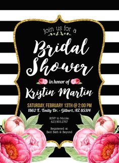 Bridal Shower Invitation Black and Gold and Black by CLaceyDesign