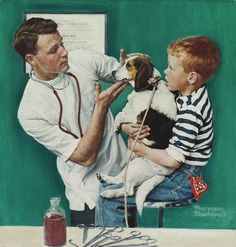 """Norman Rockwell - """"The Veterinarian"""", 1961 oil on canvas, 53.3 x 50.8 cm. (21 x 20 in.) Norman Rockwell Prints, Norman Rockwell Paintings, Very Cute Dogs, Old Lyme, Animal Medicine, Heritage Museum, Retro Art, Gravure, Illustrations"""