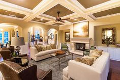 Traditional Living Room with Box ceiling, Glo-Fire Cascade Vented Gas Log Set, Wainscoting, SoFab RMALOCLacey Sofa