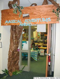 Back to School Bulletin Boards. Love The Magic Tree House theme! Back To School Bulletin Boards, Classroom Bulletin Boards, Classroom Door, Classroom Design, Classroom Displays, School Classroom, Forest Classroom, Jungle Theme Classroom, Classroom Themes
