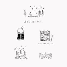 Adventures #illustration #illustrator #drawing #wanderlust #adventure #wild #camp #explore #rynfrank #design #sketch Travel Illustration, Simple Illustration, Black And White Illustration, Graphic Illustration, Summer Drawings, Cute Drawings, Design Art, Logo Design, Graphic Design