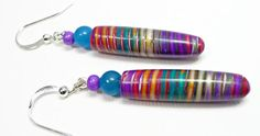 Mica Shift Rainbow Dangle Earrings polymer clay by BeadazzleMe, $14.00