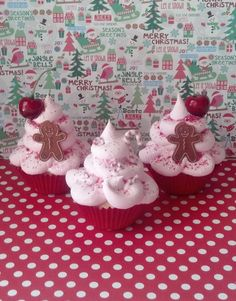 Pink Christmas Fake Cupcakes Photo Props, Gingerbread Man, Peppermint Candy Canes, Red Sugar Sprinkles, Holiday Decorations, Tree Ornaments by FakeCupcakeCreations on Etsy