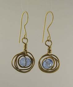Wire wrapped brass earrings w/ beautiful blue Aquamarine swarovski crystal, gift ideas, anniversary, everyday jewellery, drop, eco friendly, by FlordaVida on Etsy