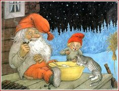 A Nisse (usually Norwegian) and a Tomte (usually Swedish) are similar characters. They are both solitary, mischievous domestic sprites responsible for the protection and welfare of the farmstead and its buildings. It is customary to leave a bowl of porridge for them on Xmas.