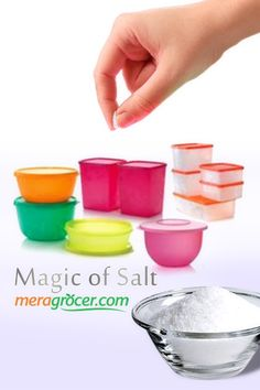 When storing Tupperware, throw in a pinch of salt to keep them from getting stinky. Stay tuned with  Online Supermarket, Pinch Of Salt, Tupperware, Stay Tuned, Cleaning Hacks, Health Tips, Yummy Food, Canning, Tableware