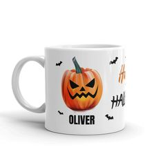 Kids Halloween Mug - Happy Halloween / Pumpkin Design - Personalised 6oz cup with Child's Name - Halloween Gift Halloween Pumpkin Designs, Halloween Mug, Halloween Pumpkins, Happy Halloween, Baby Due, Birthday Mug, Baby Grows, Thank You Gifts, Kid Names