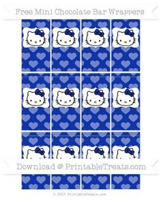 Free Egyptian Blue Heart Pattern Hello Kitty Mini Chocolate Bar Wrappers
