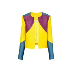 CHRISTINA ECONOMOU Tricolor Jacket (57570 RSD) ❤ liked on Polyvore featuring outerwear, jackets, yellow jacket, colorful jackets, fitted jacket, open front jacket and multi color jacket