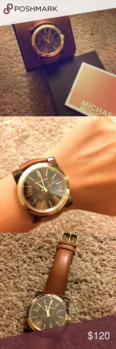 e41d56c96f6d1 Michael Kors Watch New in Box Michael Kors Kempton Tan Leather Watch  Beautiful cognac genuine leather strap with gold hardware and tortoise shell  square ...