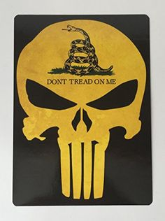 Punisher Dont tread on me decal Yellow Punisher with DONT TREAD ON ME Gadsden flag Size Printed on premium outdoor vinyl Rounded corners Made in USA American Freedom, American Flag, Redneck Woman, Gadsden Flag, Punisher Skull, Molon Labe, Dont Tread On Me, Scroll Saw, T Shirt