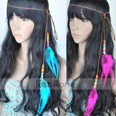 Women Dance Party Feather Pendant Hair Decor Strap Headband Necklace Waist Belt