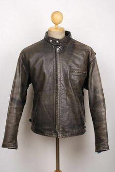 Vintage SCHOTT Cafe Racer Leather Jacket MOTORCYCLE Biker Large