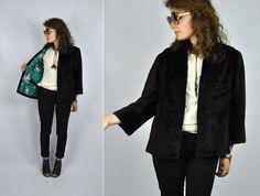 Wool Silk Black Blazer Jacket 40s 50s Asian Print With POCKETS Cocktail Party Wedding Wool Silk Blend Minimalist size S - M by ItaLaVintage on Etsy