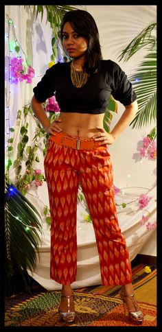 orange with yellow ikat printed ankle length trousers
