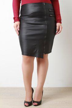 Asymmetrical Vegan Leather Midi Skirt