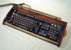 Antique looking -IBM Clicky Keyboard-Victorian Steampunk Styling- Typewriter… Steampunk House, Victorian Steampunk, Victorian Era, Steampunk Keyboard, Antique Typewriter, Oak Trim, Vintage Typewriters, Cool Gadgets, Installation Art