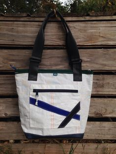 62f765d9df Recycled Nautical Sail Cloth Tote with Blue Stripes by ViciousFishesDesigns  on Etsy https