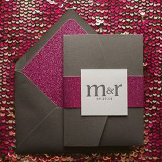 CYNTHIA Suite // STYLED // Glitter Pocket Folder Package | Just Invite Me, This Way to Fabulous, Inc. Schaumburg, Illinois Wedding Invitations