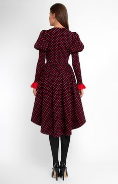 Long-sleeve stretchy cotton dress. Round neck. Hidden back zip closure. Narrow balloon sleeves from shoulder. Side seam pockets. Lace jabot with velvet buttons and bow. #Pintel #work #party #cotton #black #dress #cute #pretty #midi #style #rose #wool #polkadot #red #lace #jabot #cocktail #evening