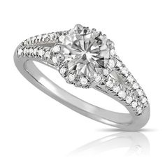 Atara - 1.38ctw Round Brilliant Moissanite Ring with Pavé Accents, 14k Gold at Mallove's of Mystic