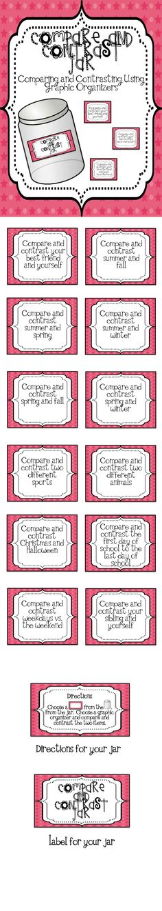 Everything you need to help students work on comparing and contrasting! Students pick a card from the jar and think of ways the two items are the same and different. Next, choose one of the graphic organizers to complete.