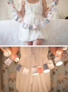 Outdoor party lights - string lights covered with paper or plastic cups.