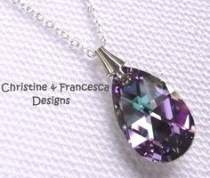 "♥ Gorgeous ♥ Mainly purple lilac colour crystal but there is a multi colour effect when you move the crystal pendant in the light, as it has a special silvered coating on the back ♥ .925 Sterling Silver LIGHT VITRAIL ( Purple Lilac multi ) 16mm size Pear Crystal Pendant Chain Necklace made with SWAROVSKI ELEMENTS crystal ~ 16"" inch or 18"" inch length chain + Gift Box & Organza Gift Bag ~ by Christine & Francesca Designs"