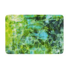"""Ebi Emporium """"Pastel Jungle II"""" Green Blue Memory Foam Bath Mat"""
