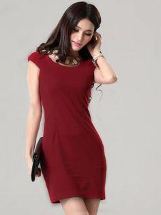 Korean  Solid Color Short Sleeve Wine Red Dress