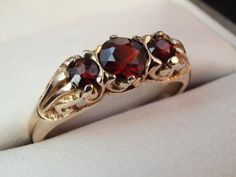 Gold Garnet Ring Vintage Trilogy Victorian by BelmontandBellamy, £109.00