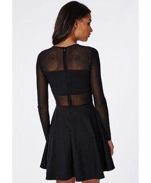 Vestido gasa manga larga-negro