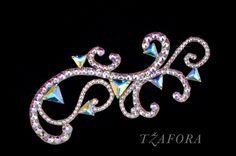 """Erika"" - Dancesport accessories. Ballroom hair accessory and ballroom jewelry made with Swarovski, available at www.tzafora.com © 2016 Tzafora. Handmade in Canada."