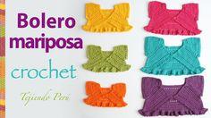 Bolero mariposa para bebitas y niñas tejido a crochet: paso a paso!