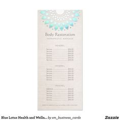 Blue Lotus Health and Wellness Price List Menu Rack Card Template Stylish, elegant design by Maura Reed. This unique rack card is ideal for beauty salons, spas, cosmetologists, massage therapists, holistic healers, life coaches estheticians and hair and beauty professionals. A simple and affordable alternative to the classic tri-fold brochure. FAUX turquoise foil mandala on digital image of beige linen background.
