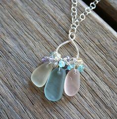 Sea Glass Necklace, Sea Glass Jewelry, Jewelry Making, Jewellery, My Style, Beach, Pretty, Earrings, Ear Rings