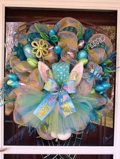 Deco malla Easter Bunny guirnalda por WreathsEtc en Etsy