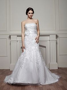 Dazzling Beaded and Appliqued Strapless Satin Mermaid Wedding Dress - USD $258.00