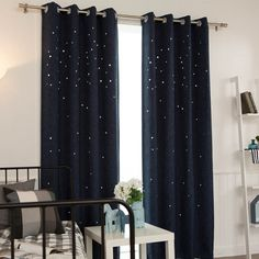 Navy Star Pattern Cutting out Tweed Blackout Curtains Drapery Panel Eyelet Ring Top Grommet Curtains for Bedrooms and Living Rooms Filled with Fun. Perfect for Bed Rooms and Living Room 102W X 91L Pair 1 Set (2 Panels) Enhance the look of your room decor by dressing your windows in this fabric